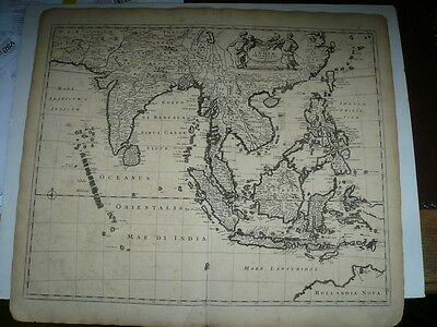 Tabula Indiae Orientalis F. de Wit, 1662--ORIGINAL MAP EDITED BY F. DE WIT---