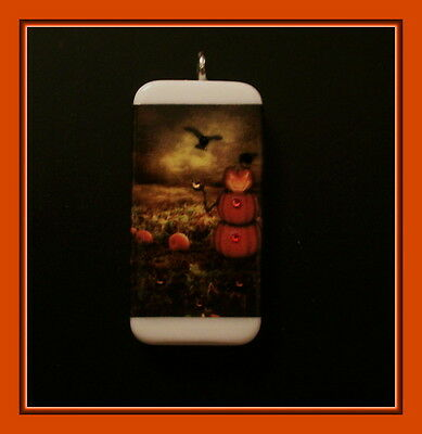 October Crows In A Pumpkin Patch Domino Pendant