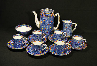 Art Deco Burleigh Ware Coffee  Demi Tasse 15 Piece Set Hand Painted Parts