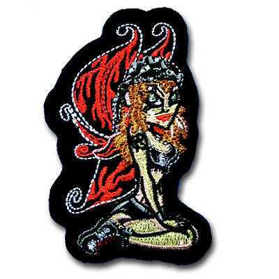 Butterfly Lady Patch Iron on Biker Lady Rider Sugar Skull Harley Tatoo Badge