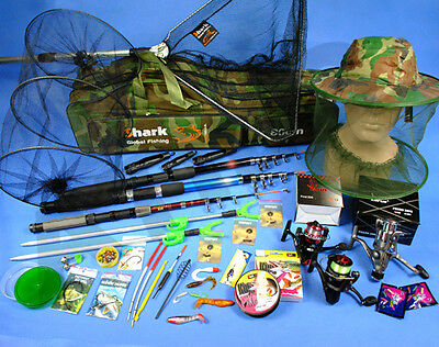 COMPLETE RICH Fishing Set 3x ROD 3x ROLE, landing net, bag, accessories Z66