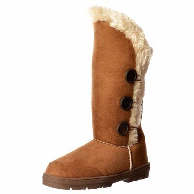 f6d64bf2a437f0 Ella Womens Girls Triple 3 Button Fur Lined Flat Winter Boot Assorted  Colours