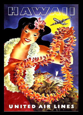 Hawaii United Airlines A3 vintage retro travel & railways posters Wall Decor #3