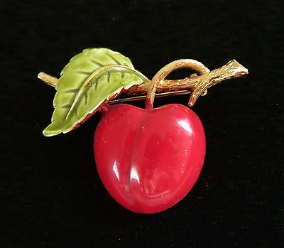 Red Cherry Fruit red green enamel great condition  BROOCH
