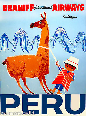 Peru Inca South America Little Boy Llama Vintage Travel Advertisement Poster