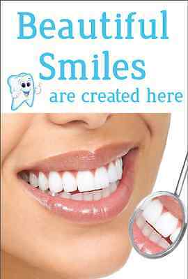 "LARGE 40'' x 27'' Dental Office Poster: ""Beautiful Smiles are created here"""
