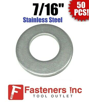 """(50) 7/16"""" Stainless Steel Flat Washers (18-8 Stainless) 1-1/8"""" OD / .050 Thick"""