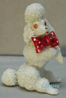 Vintage Poodle Dog with Red Bow Figurine Porcelain Japan 3 1/4""