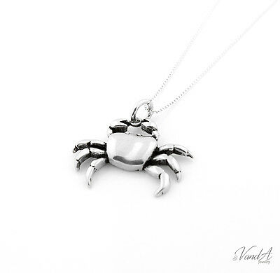 Sterling Silver 925 Crab Necklace zodiac Crab charm pendant with box chain N75