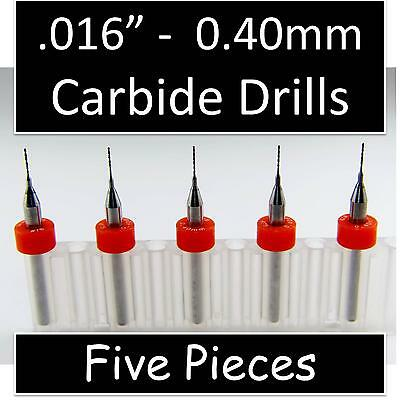 "1/64"" - .016"" 0.40mm #78 - Five Carbide Drill Bits - Metal Plastic Aluminum R/S"
