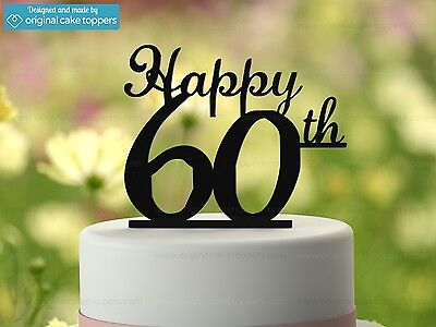 """""""Happy 60th"""" - Black - 60th Birthday Cake Topper - Made by OriginalCakeToppers"""