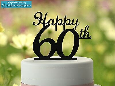 """Happy 60th"" - Black - 60th Birthday Cake Topper - Made by OriginalCakeToppers"