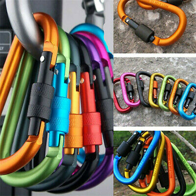 Set of 6 Aluminum Carabiner D-Ring Clip Hook Climbing Keychain Screw Locking UK