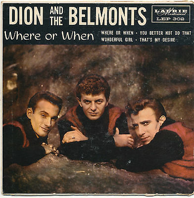 "7"" EP - Dion And The Belmonts - Where Or When - Laurie LEP 302 - US 1959"