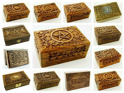 Wooden Carved Box Pentagram Ohm Triple Moon Pagan Tarot Card Box Spells Rune