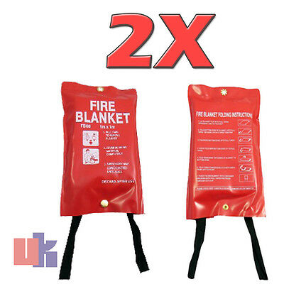 2X Standard Fire Safety Red Quality Cover 1M X 1M Fire Blankets Quick Release