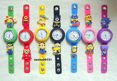 Minions Jibbitz Band Watch  & A Set Of 9 Charms, Brand New