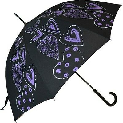"Automatic stick umbrella by  ""SOAKE""with vibrant hearts pattern-choice 4 colours"