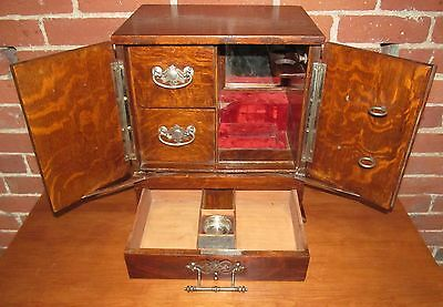Antique Arts & Crafts Tiger Oak Mechanical Smoking Box