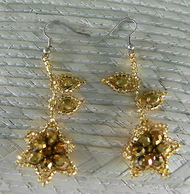 Unique Mexican Huichol Art Beaded Earrings- Jewelry Hand Made LE46 Gold Flowers