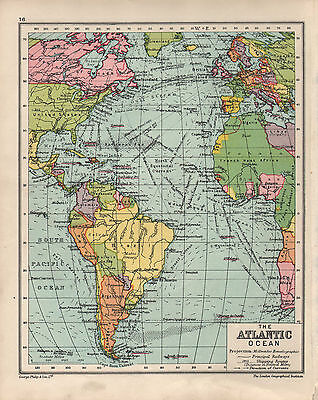 1934 MAP ~ THE ATLANTIC OCEAN ~ SHOWING SHIPPING ROUTES BRITISH ISLES EUROPE etc