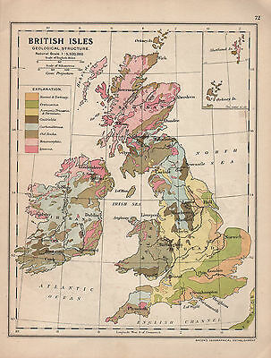 1915 MAP ~ BRITISH ISLES GEOLOGICAL STRUCTURE ~ TERTIARY JURASSIC IGNEOUS etc