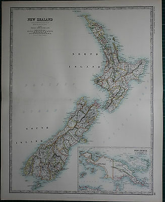1887 Large Victorian Map ~ New Zealand ~ North & South Island ~ Inset New Guinea