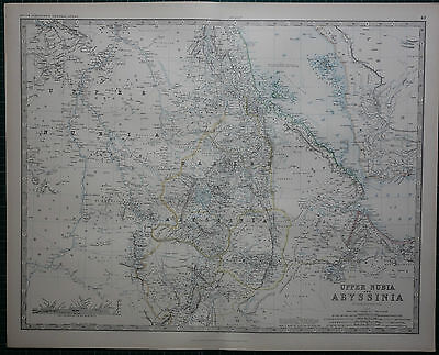 1887 Large Victorian Map ~ Upper Nubia & Abyssinia ~ Habesh Shoa
