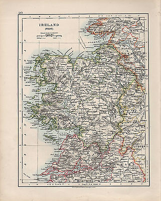 1909 Victorian Map ~ Ireland West ~ Mayo Galway Clare Tipperary