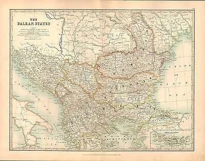 1911 Large Victorian Map ~ The Balkan States Rumania Turkey Bulgaria Montenegro