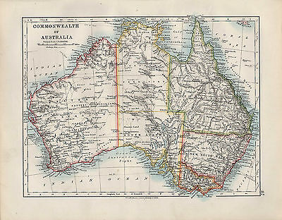 1909 VICTORIAN MAP ~ COMMONWEALTH OF AUSTRALIA ~ QUEENSLAND NEW SOUTH WALES etc