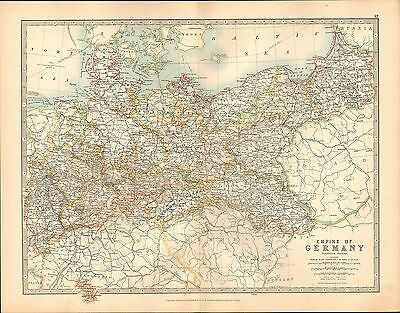 1911 Large Victorian Map Empire Of Germany Northern Portion Hanover Brandenburg