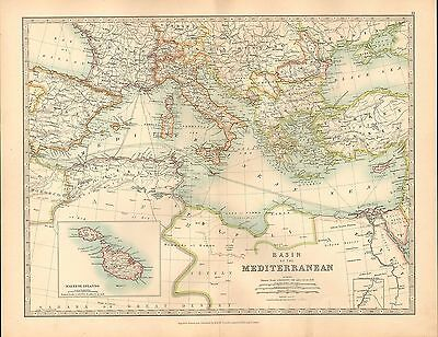 1911 Large Victorian Map ~ Basin Of The Mediterranean Greece Italy Spain Algeria