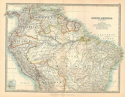1911 LARGE VICTORIAN MAP ~ SOUTH AMERICA NORTHERN SHEET BRAZIL PERU COLOMBIA etc