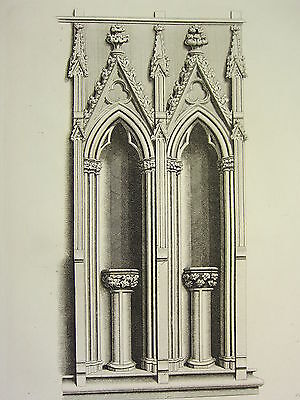 Architectural & Garden 1795 Print Gothic Ornament York Minster ~ Two Heads Over A Stall Chapter-house