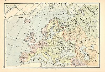 c1875 MAP ~ RIVER SYSTEMS OF EUROPE ~ ATLANTIC RIVER CONTINENTAL ARCTIC