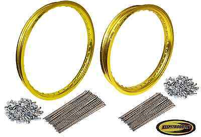 Pro Wheel Gold Front and Rear Rim and Spoke Set Fits Honda Cr125 Crf250