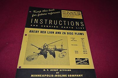 Minneapolis Moline Avery Red Lion & ZA Disc Plow Operator's Manual MISC1