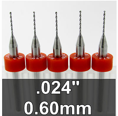 ".024"" 0.60mm #73 - Five Carbide Drill Bits - Wood Metal Plastic Aluminum cnc R/S"