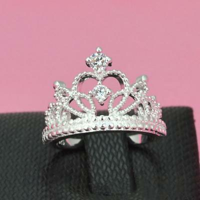Hot Women 925 Silver Plated Princess Wedding Band Zircon Crown Ring Jewelry Gift