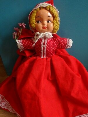 "Vintage MOLDED FACE Topsy Turvy LITTLE RED RIDING HOOD 3 In 1 DOLL 14"" Tall GUC"