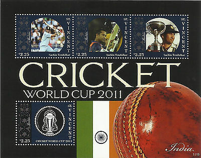 ST VINCENT 2011 ICC CRICKET WORLD CUP INDIA TEAM SACHIN TENDULKAR 4v Sheet MNH