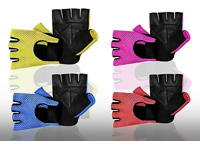 Mesh Leather Fingerless Weight Lifting Exercise Gym Wheelchair Gloves