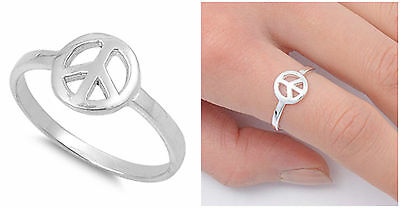 Sterling Silver Womens Mens World Peace Fashion Ring Classic Band