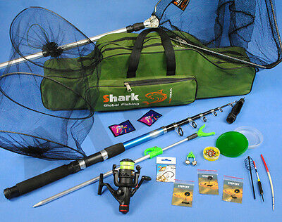COMPLETE Fishing Set ROD, Reel, landing net, bag, accessories Z61