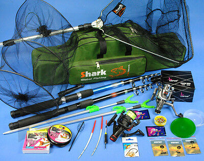 COMPLETE new Fishing Set 2x ROD 2x Reel, landing net, bag, accessories Z63
