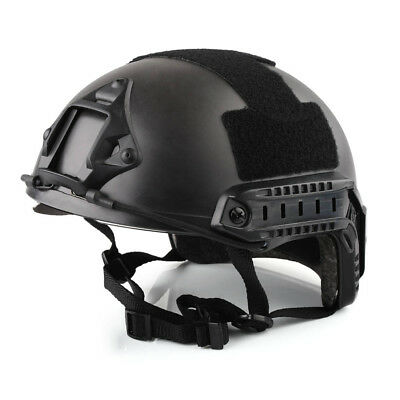 Tactical Airsoft Paintball Climbing Protective Combat FAST Helmet w Goggle Black