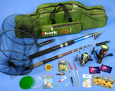 SUPER Fishing Set 2x ROD 2x Reel, bag, accessories Z62