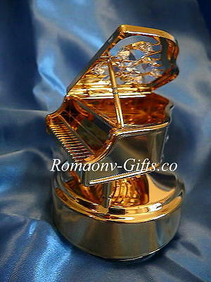 """Wizard of Oz Musical gold Piano """"Over the Rainbow"""" & FABERGE Egg Necklace"""