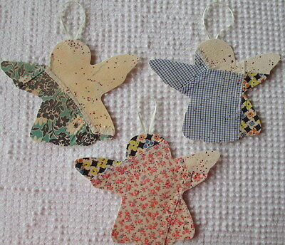 AA96 Prim Ornaments Upcycled from Vintage 1920s/30s Cutter Quilt Remnant Angels